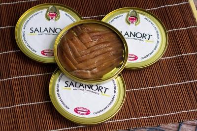 Lote  4 latas de anchoa del Cantábrico Salanort 12 filetes
